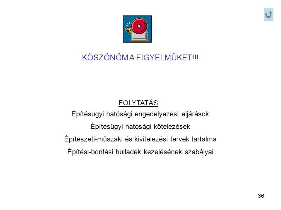 36 KÖSZÖNÖM A FIGYELMÜKET!!! FOLYTATÁS: Építésügyi hatósági engedélyezési eljárások Építésügyi hatósági kötelezések Építészeti-műszaki és kivitelezési