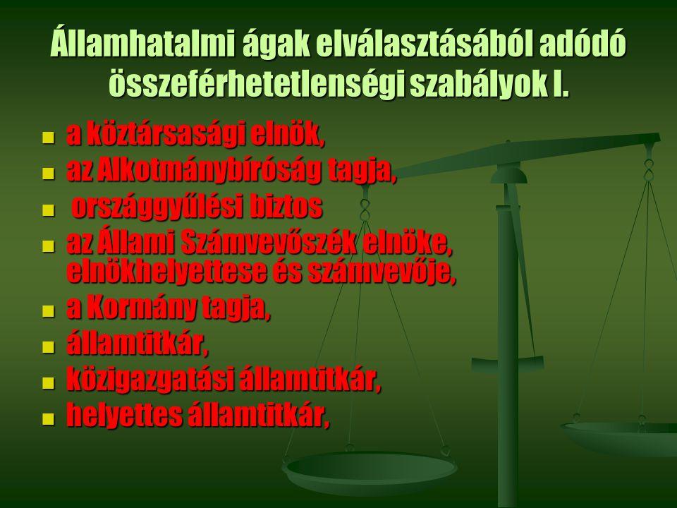 Államhatalmi ágak elválasztásából adódó összeférhetetlenségi szabályok I. a köztársasági elnök, a köztársasági elnök, az Alkotmánybíróság tagja, az Al