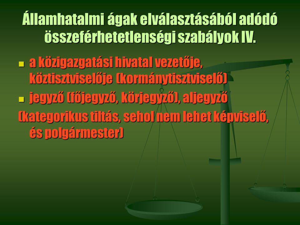 Államhatalmi ágak elválasztásából adódó összeférhetetlenségi szabályok IV. a közigazgatási hivatal vezetője, köztisztviselője (kormánytisztviselő) a k