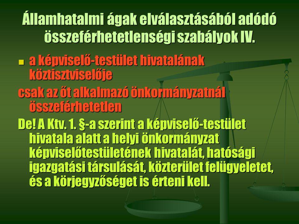 Államhatalmi ágak elválasztásából adódó összeférhetetlenségi szabályok IV. a képviselő-testület hivatalának köztisztviselője a képviselő-testület hiva