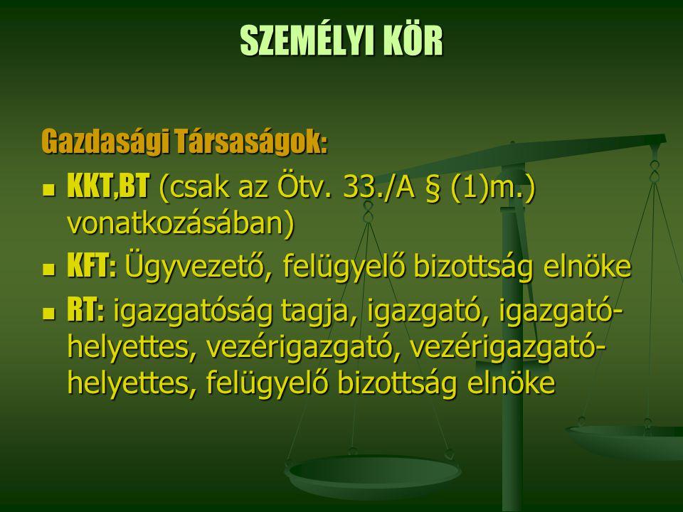 SZEMÉLYI KÖR Gazdasági Társaságok: KKT,BT (csak az Ötv. 33./A § (1)m.) vonatkozásában) KKT,BT (csak az Ötv. 33./A § (1)m.) vonatkozásában) KFT: Ügyvez