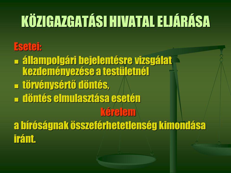 KÖZIGAZGATÁSI HIVATAL ELJÁRÁSA Esetei: állampolgári bejelentésre vizsgálat kezdeményezése a testületnél állampolgári bejelentésre vizsgálat kezdeménye