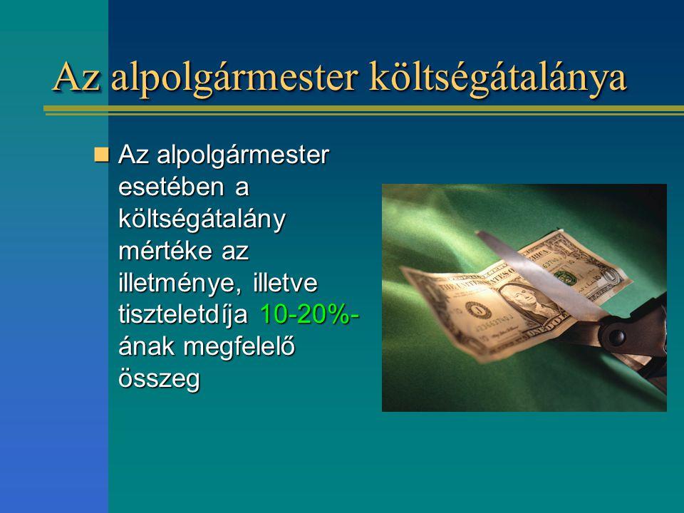 Az alpolgármester költségátalánya Az alpolgármester esetében a költségátalány mértéke az illetménye, illetve tiszteletdíja 10-20%- ának megfelelő össz