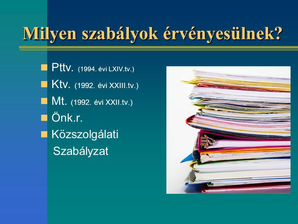 Milyen szabályok érvényesülnek? Pttv. (1994. évi LXIV.tv.) Ktv. (1992. évi XXIII.tv.) Mt. (1992. évi XXII.tv.) Önk.r. Közszolgálati Szabályzat