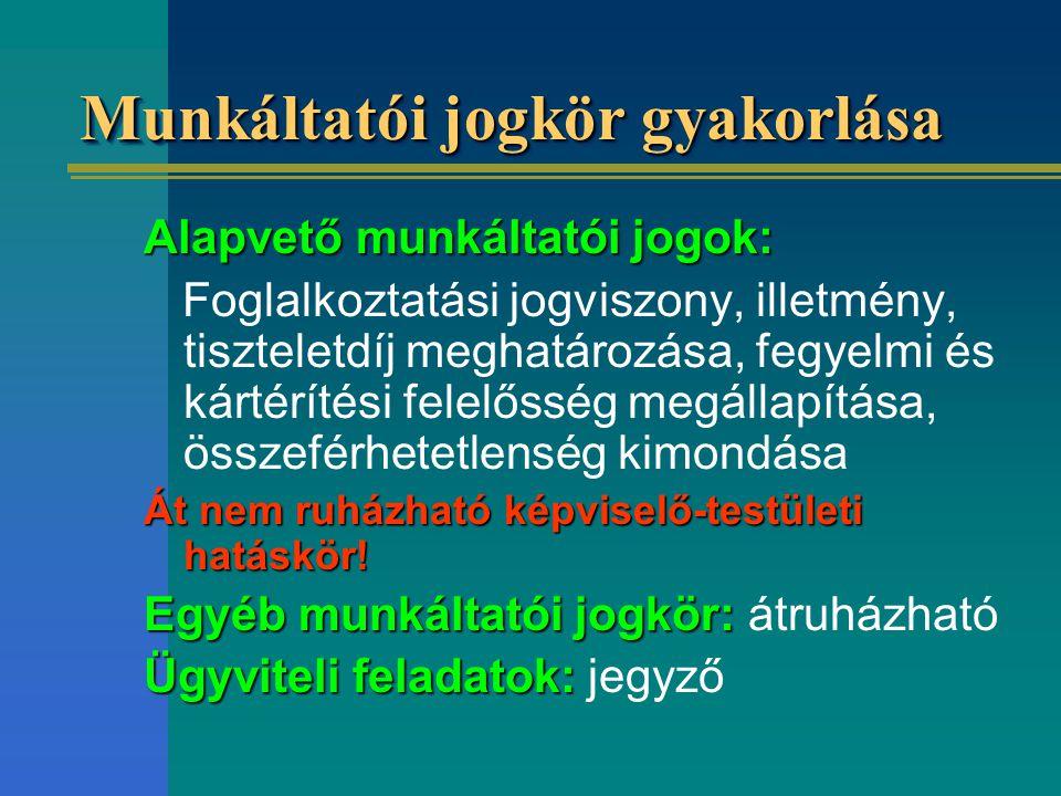 Munkáltatói jogkör gyakorlása Alapvető munkáltatói jogok: Foglalkoztatási jogviszony, illetmény, tiszteletdíj meghatározása, fegyelmi és kártérítési f