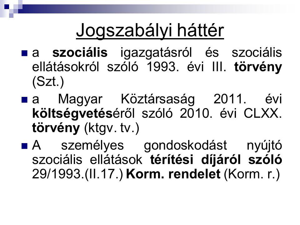 Jogszabályi háttér a szociális igazgatásról és szociális ellátásokról szóló 1993. évi III. törvény (Szt.) a Magyar Köztársaság 2011. évi költségvetésé