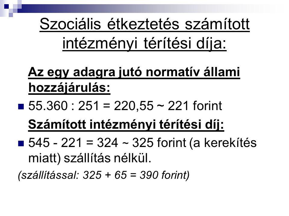 Szociális étkeztetés számított intézményi térítési díja: Az egy adagra jutó normatív állami hozzájárulás: 55.360 : 251 = 220,55 ~ 221 forint Számított