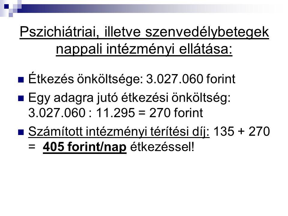Pszichiátriai, illetve szenvedélybetegek nappali intézményi ellátása: Étkezés önköltsége: 3.027.060 forint Egy adagra jutó étkezési önköltség: 3.027.0
