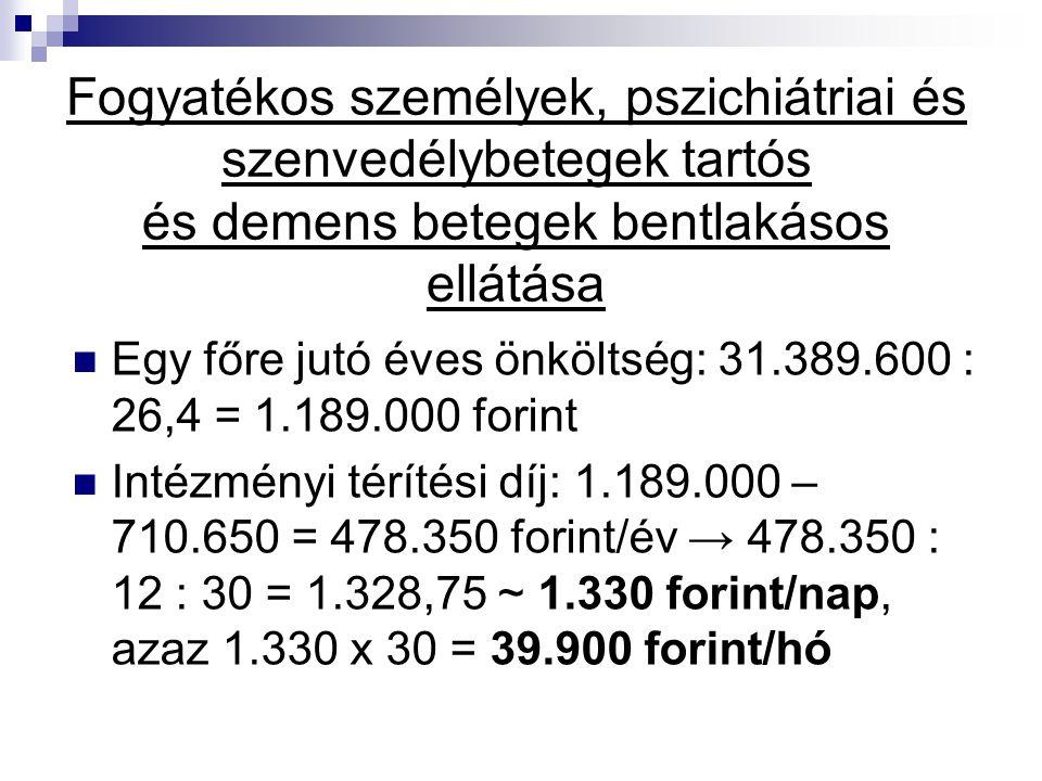 Fogyatékos személyek, pszichiátriai és szenvedélybetegek tartós és demens betegek bentlakásos ellátása Egy főre jutó éves önköltség: 31.389.600 : 26,4 = 1.189.000 forint Intézményi térítési díj: 1.189.000 – 710.650 = 478.350 forint/év → 478.350 : 12 : 30 = 1.328,75 ~ 1.330 forint/nap, azaz 1.330 x 30 = 39.900 forint/hó