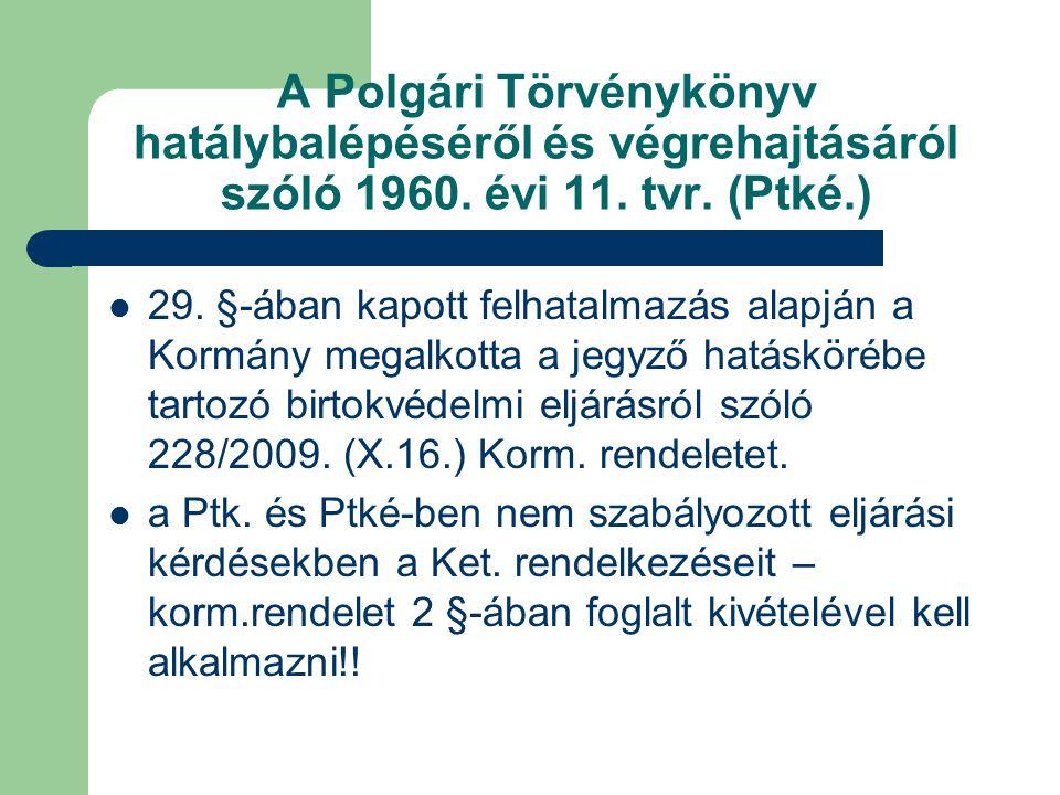 A Polgári Törvénykönyv hatálybalépéséről és végrehajtásáról szóló 1960. évi 11. tvr. (Ptké.) 29. §-ában kapott felhatalmazás alapján a Kormány megalko