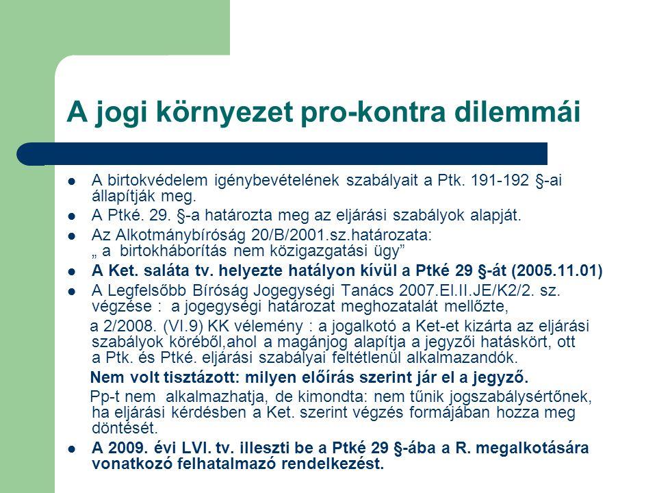 A jogi környezet pro-kontra dilemmái A birtokvédelem igénybevételének szabályait a Ptk. 191-192 §-ai állapítják meg. A Ptké. 29. §-a határozta meg az