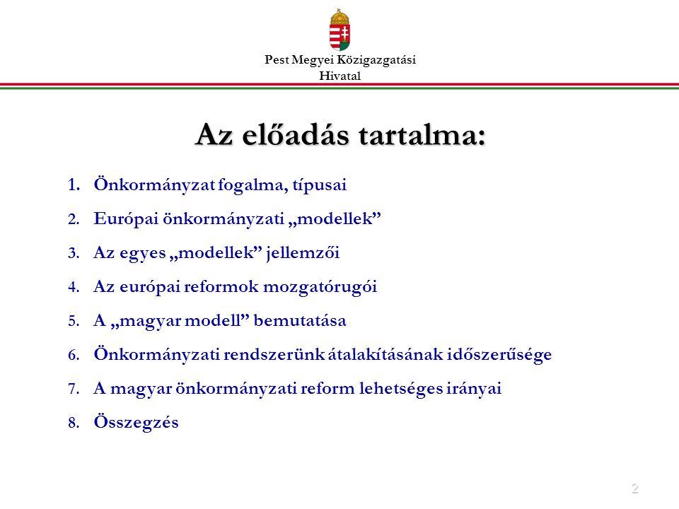 2 Az előadás tartalma: 1.Önkormányzat fogalma, típusai 2.