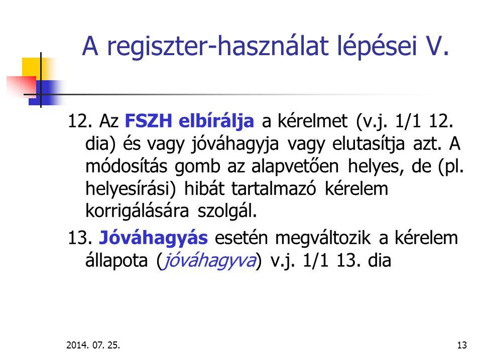 2014.07. 25.14 A regiszter-használat lépései VI. 14.