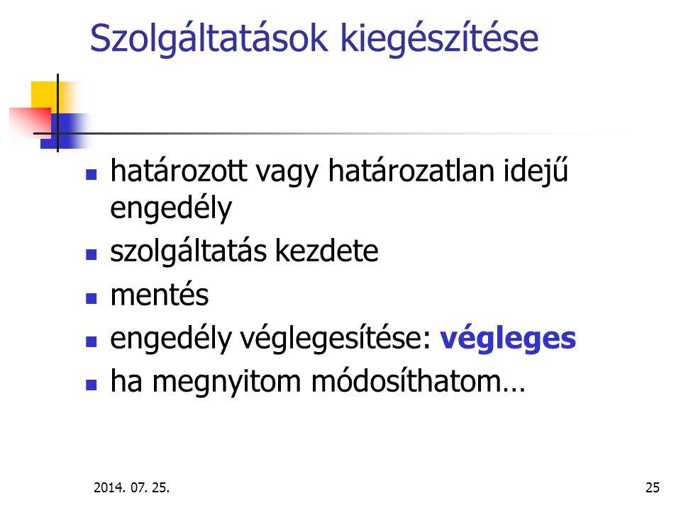 2014.07. 25.26 Az intézményi nyilvántartás használatának lépései III.