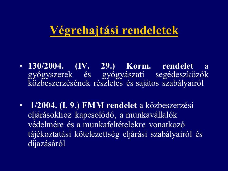 Végrehajtási rendeletek 130/2004. (IV. 29.) Korm. rendelet a gyógyszerek és gyógyászati segédeszközök közbeszerzésének részletes és sajátos szabályair