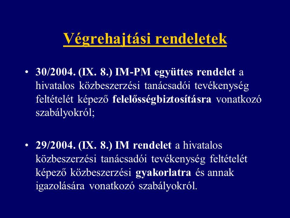 Végrehajtási rendeletek 30/2004. (IX. 8.) IM-PM együttes rendelet a hivatalos közbeszerzési tanácsadói tevékenység feltételét képező felelősségbiztosí