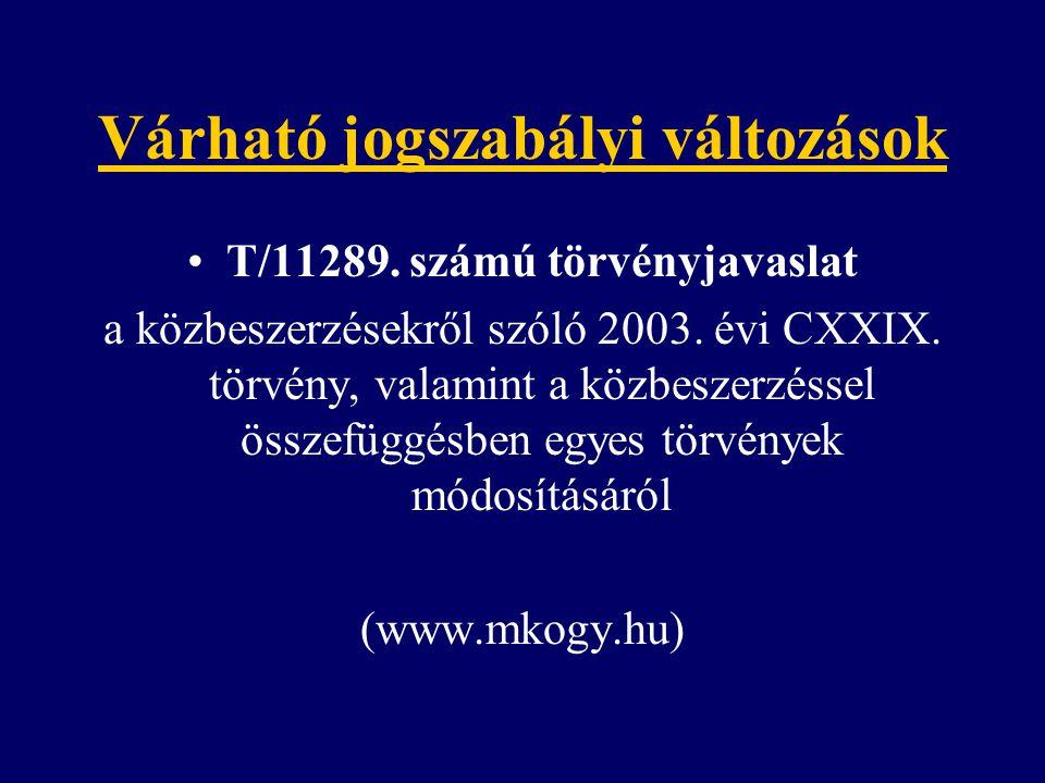 Várható jogszabályi változások T/11289. számú törvényjavaslat a közbeszerzésekről szóló 2003. évi CXXIX. törvény, valamint a közbeszerzéssel összefügg