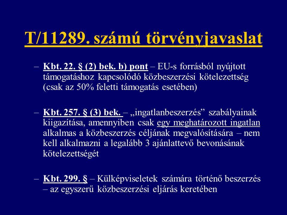 T/11289. számú törvényjavaslat –Kbt. 22. § (2) bek. b) pont – EU-s forrásból nyújtott támogatáshoz kapcsolódó közbeszerzési kötelezettség (csak az 50%