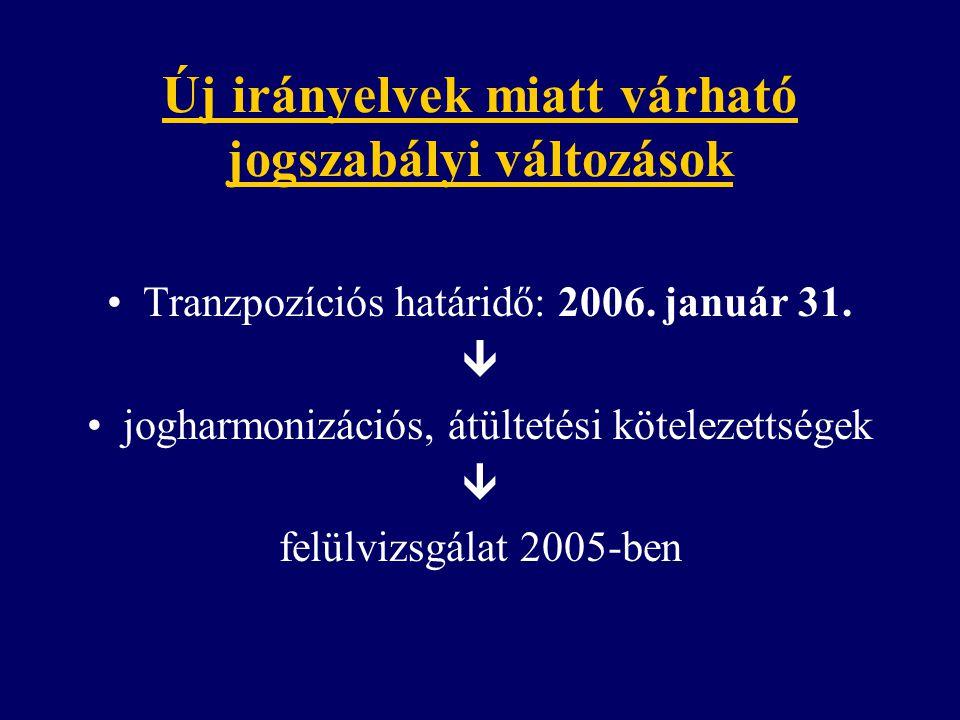 Új irányelvek miatt várható jogszabályi változások Tranzpozíciós határidő: 2006. január 31.  jogharmonizációs, átültetési kötelezettségek  felülvizs