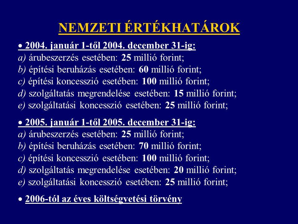 NEMZETI ÉRTÉKHATÁROK  2004. január 1-től 2004. december 31-ig: a) árubeszerzés esetében: 25 millió forint; b) építési beruházás esetében: 60 millió f