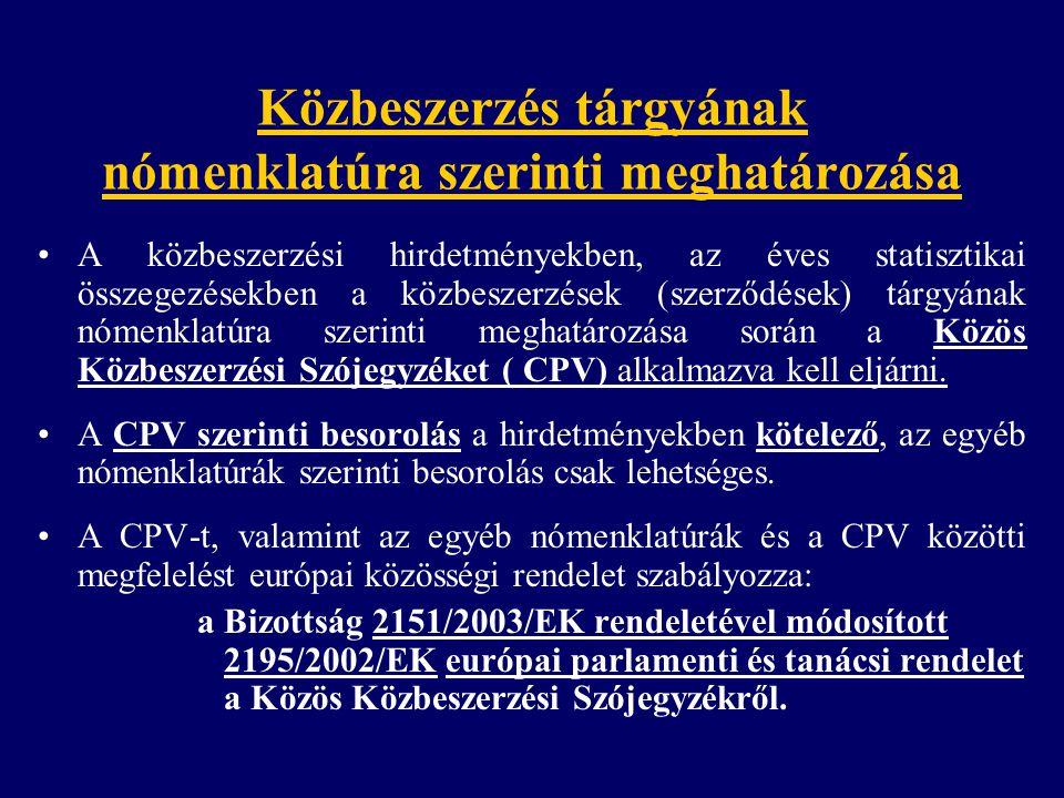 Közbeszerzés tárgyának nómenklatúra szerinti meghatározása A közbeszerzési hirdetményekben, az éves statisztikai összegezésekben a közbeszerzések (szerződések) tárgyának nómenklatúra szerinti meghatározása során a Közös Közbeszerzési Szójegyzéket ( CPV) alkalmazva kell eljárni.