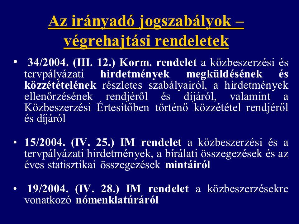 Az irányadó jogszabályok – végrehajtási rendeletek 34/2004. (III. 12.) Korm. rendelet a közbeszerzési és tervpályázati hirdetmények megküldésének és k