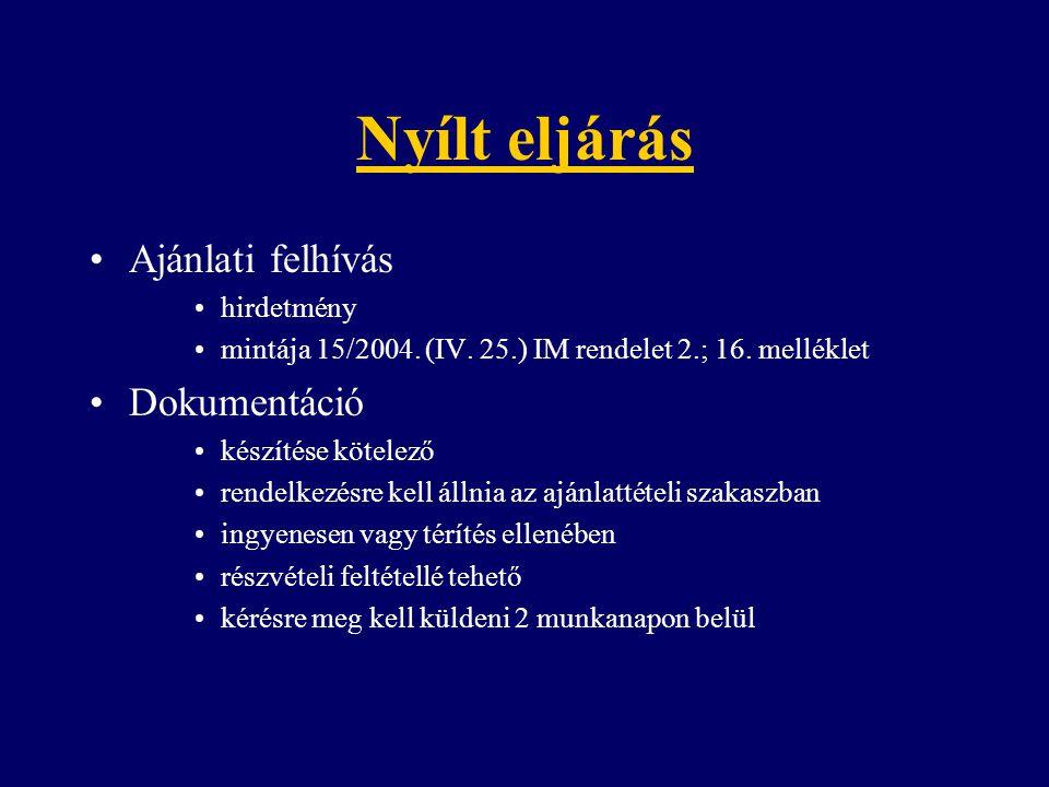 Ajánlati felhívás hirdetmény mintája 15/2004. (IV. 25.) IM rendelet 2.; 16. melléklet Dokumentáció készítése kötelező rendelkezésre kell állnia az ajá
