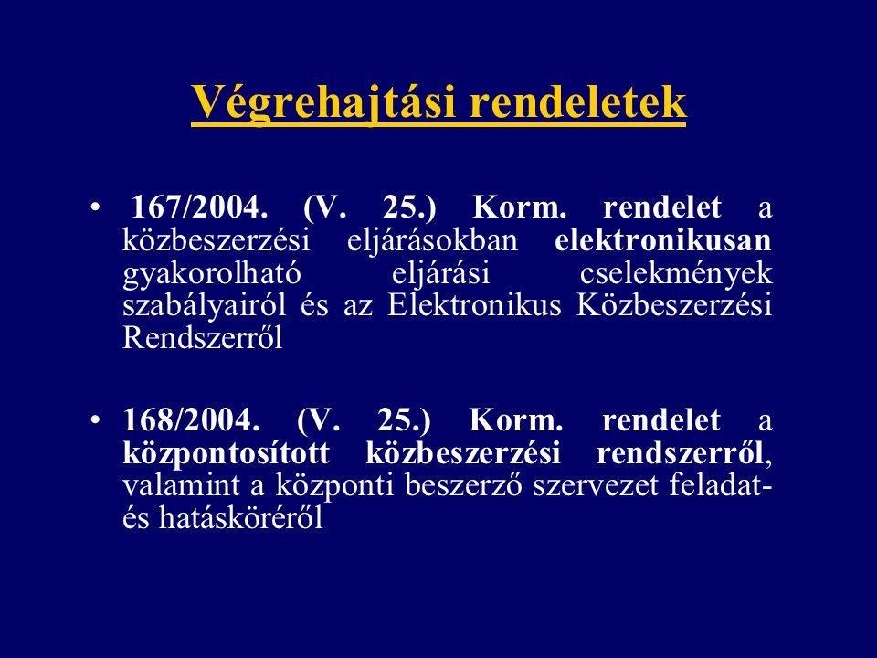 Végrehajtási rendeletek 167/2004. (V. 25.) Korm. rendelet a közbeszerzési eljárásokban elektronikusan gyakorolható eljárási cselekmények szabályairól