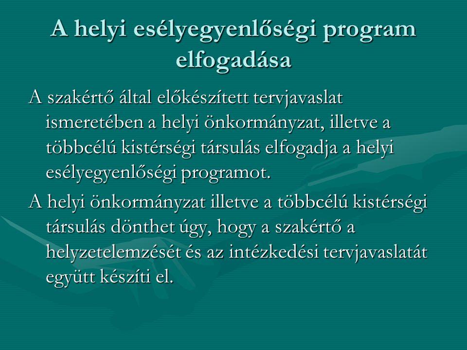 A helyi esélyegyenlőségi program elfogadása A szakértő által előkészített tervjavaslat ismeretében a helyi önkormányzat, illetve a többcélú kistérségi