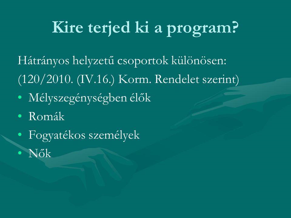 Kire terjed ki a program? Hátrányos helyzetű csoportok különösen: (120/2010. (IV.16.) Korm. Rendelet szerint) Mélyszegénységben élők Romák Fogyatékos