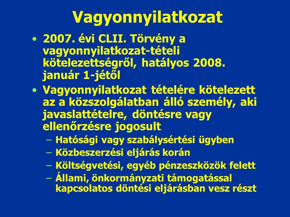 Vagyonnyilatkozat 2007. évi CLII. Törvény a vagyonnyilatkozat-tételi kötelezettségről, hatályos 2008. január 1-jétől Vagyonnyilatkozat tételére kötele