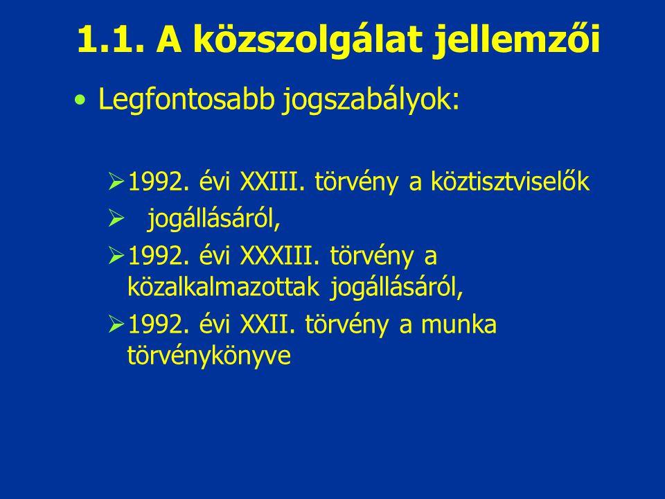 1.1. A közszolgálat jellemzői Legfontosabb jogszabályok:  1992. évi XXIII. törvény a köztisztviselők  jogállásáról,  1992. évi XXXIII. törvény a kö