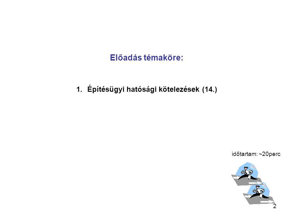 2 Előadás témaköre: 1.Építésügyi hatósági kötelezések (14.) időtartam: ~20perc