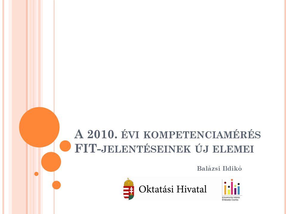 A 2010. ÉVI KOMPETENCIAMÉRÉS FIT- JELENTÉSEINEK ÚJ ELEMEI Balázsi Ildikó