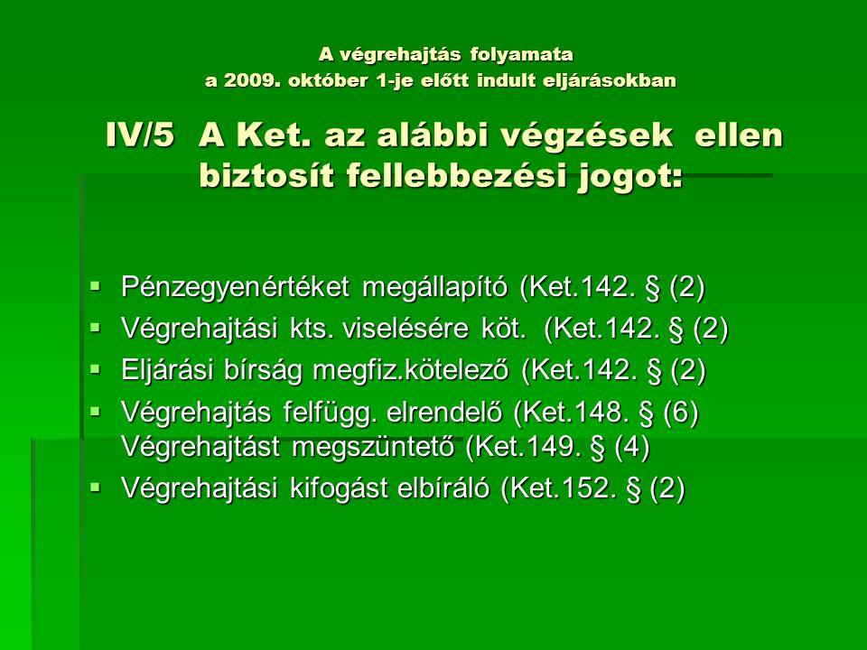A végrehajtás folyamata a 2009.október 1-je előtt indult eljárásokban IV/5 A Ket.