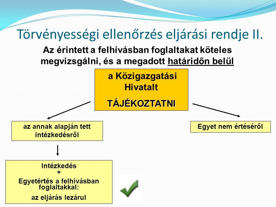 Törvényességi ellenőrzés eljárási rendje II.