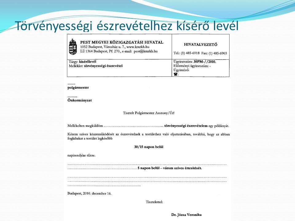 Törvényességi észrevételhez kísérő levél