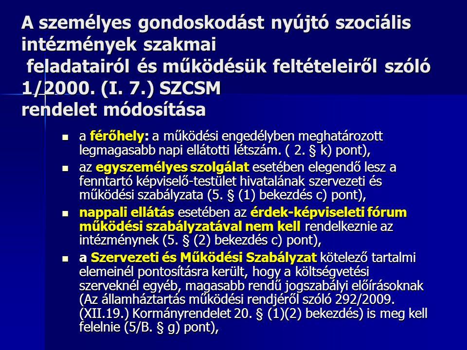 A személyes gondoskodást nyújtó szociális intézmények szakmai feladatairól és működésük feltételeiről szóló 1/2000. (I. 7.) SZCSM rendelet módosítása