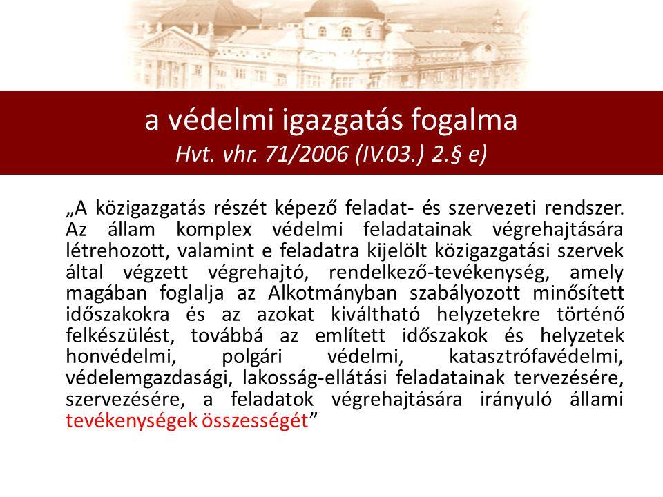 a védelmi igazgatás fogalma Hvt.vhr.