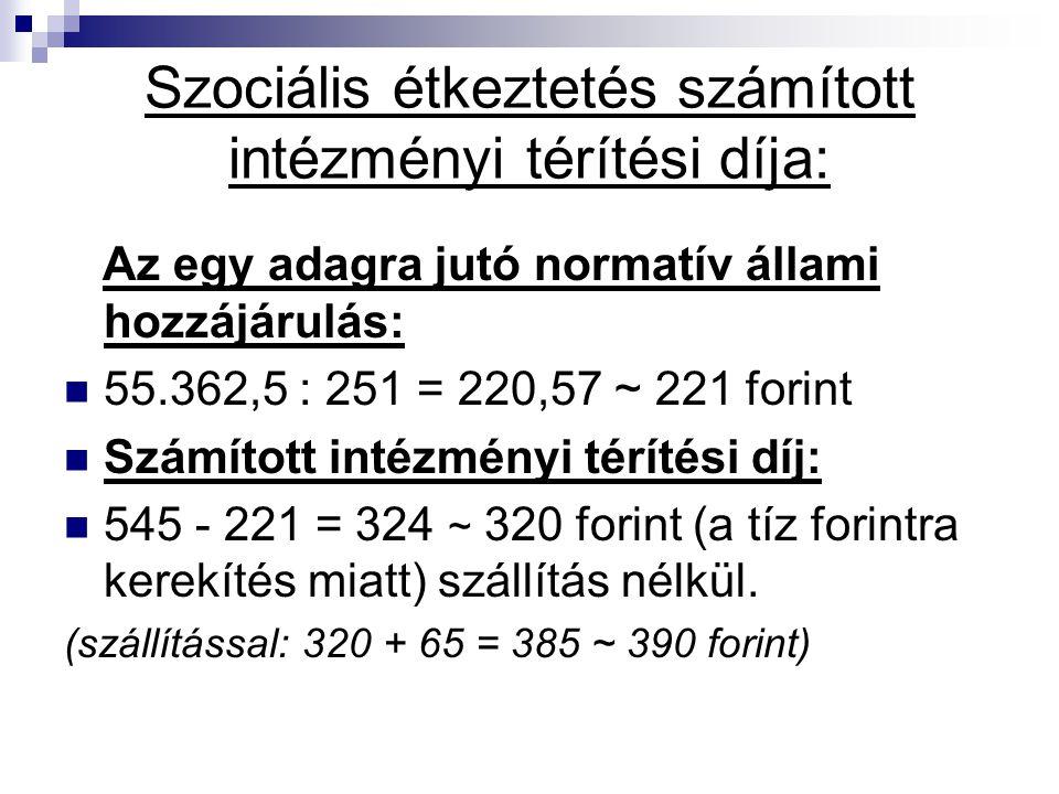 Szociális étkeztetés számított intézményi térítési díja: Az egy adagra jutó normatív állami hozzájárulás: 55.362,5 : 251 = 220,57 ~ 221 forint Számíto