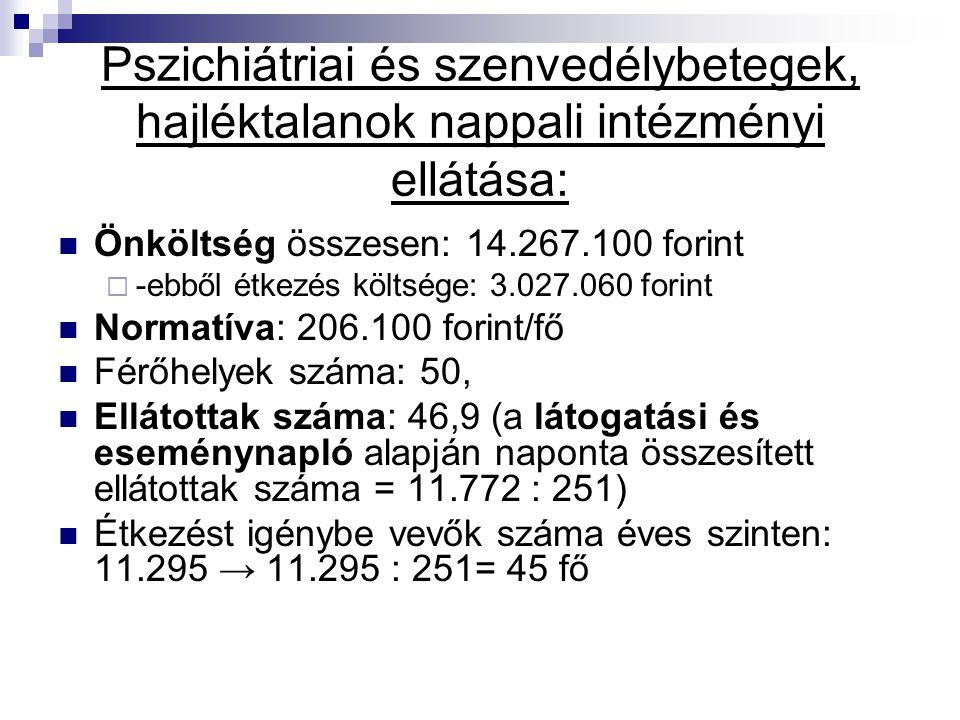 Pszichiátriai és szenvedélybetegek, hajléktalanok nappali intézményi ellátása: Önköltség összesen: 14.267.100 forint  -ebből étkezés költsége: 3.027.