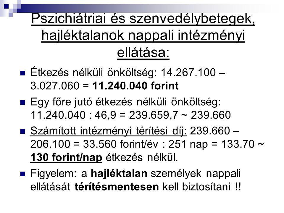 Pszichiátriai és szenvedélybetegek, hajléktalanok nappali intézményi ellátása: Étkezés nélküli önköltség: 14.267.100 – 3.027.060 = 11.240.040 forint E