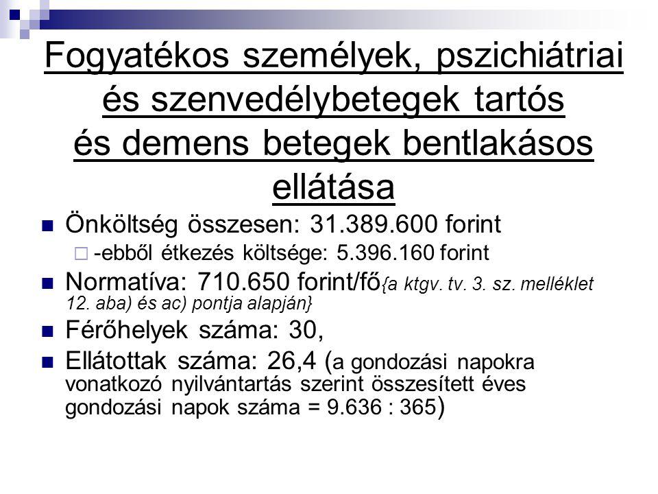 Fogyatékos személyek, pszichiátriai és szenvedélybetegek tartós és demens betegek bentlakásos ellátása Önköltség összesen: 31.389.600 forint  -ebből
