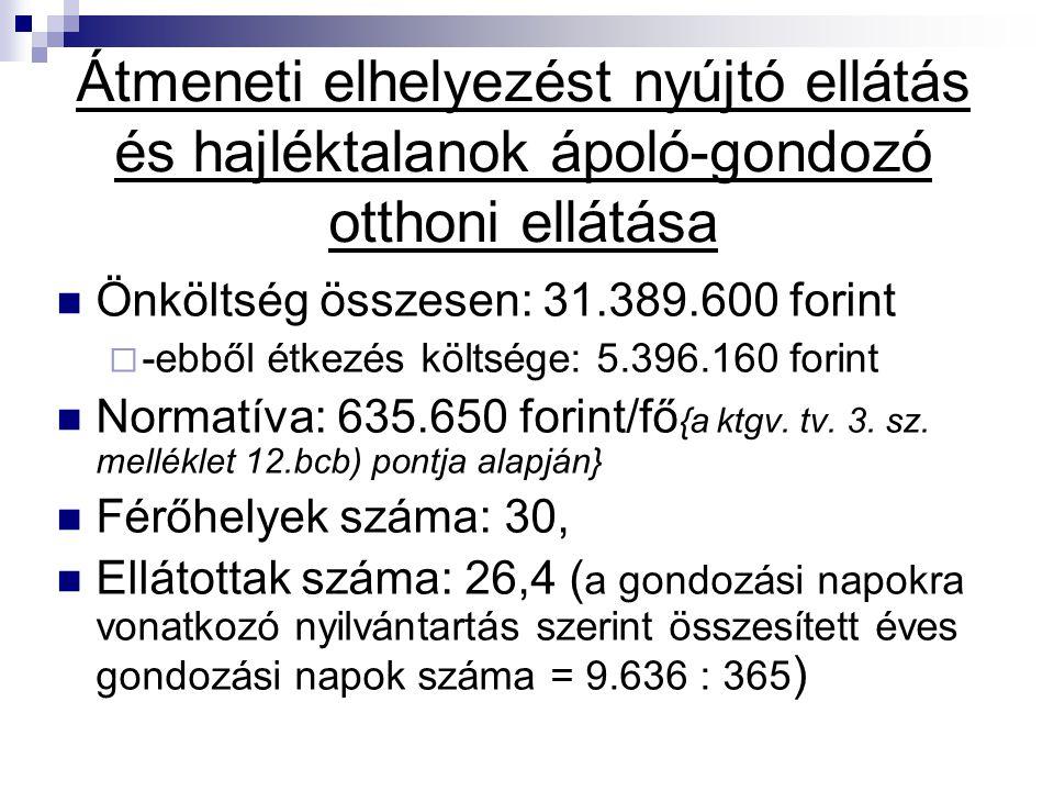 Átmeneti elhelyezést nyújtó ellátás és hajléktalanok ápoló-gondozó otthoni ellátása Önköltség összesen: 31.389.600 forint  -ebből étkezés költsége: 5
