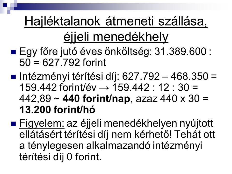 Hajléktalanok átmeneti szállása, éjjeli menedékhely Egy főre jutó éves önköltség: 31.389.600 : 50 = 627.792 forint Intézményi térítési díj: 627.792 –