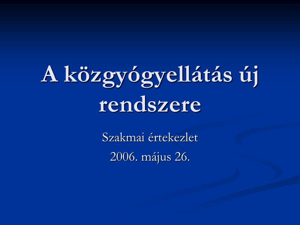 A közgyógyellátás új rendszere Szakmai értekezlet 2006. május 26.