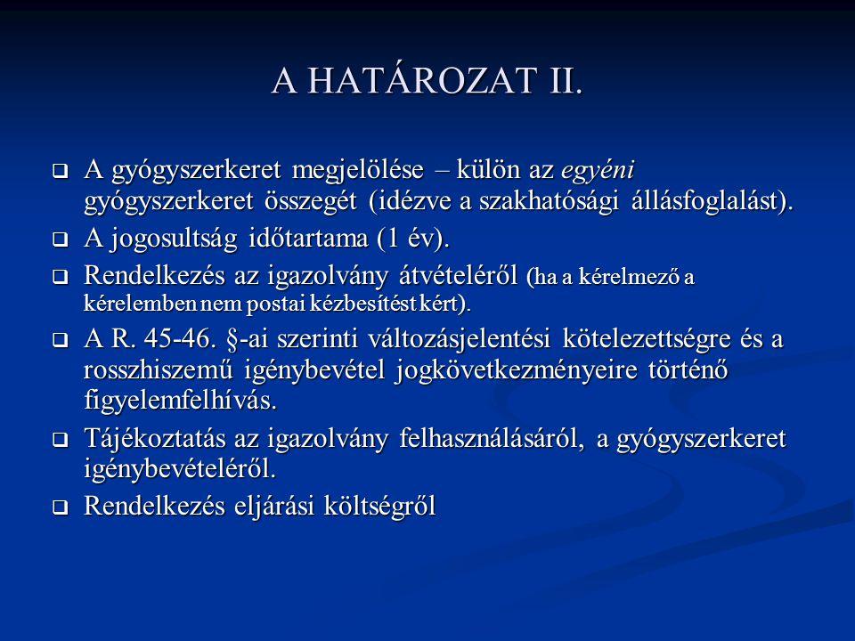 A HATÁROZAT II.