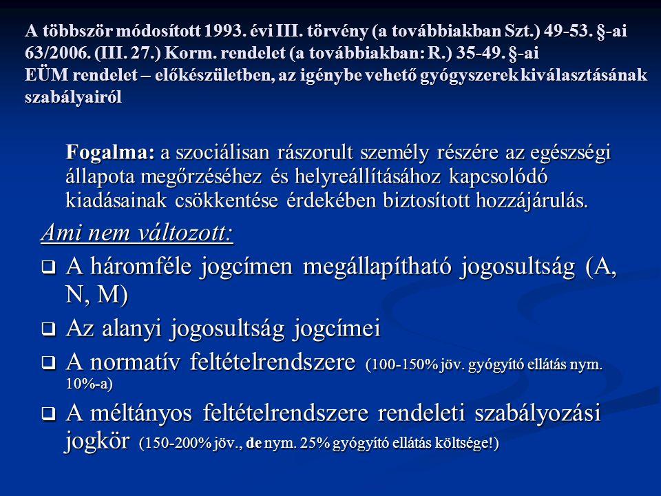 A többször módosított 1993. évi III. törvény (a továbbiakban Szt.) 49-53.