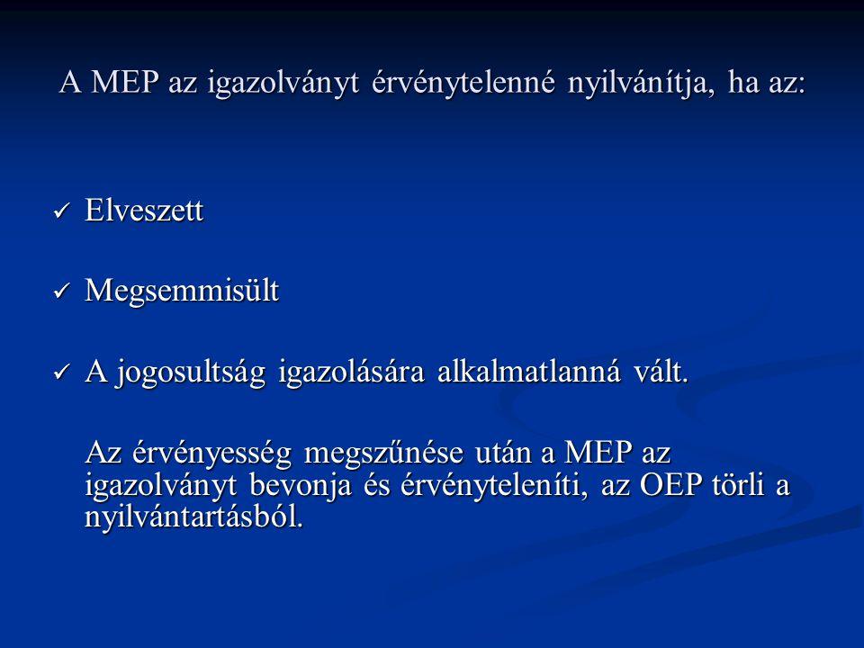 A MEP az igazolványt érvénytelenné nyilvánítja, ha az: Elveszett Elveszett Megsemmisült Megsemmisült A jogosultság igazolására alkalmatlanná vált.