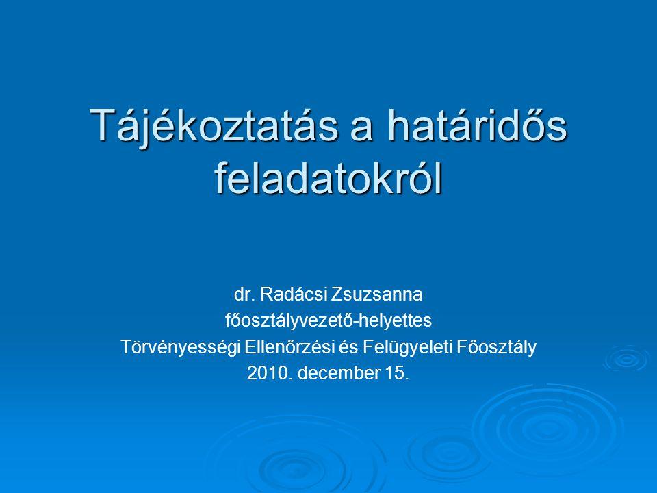 Tájékoztatás a határidős feladatokról dr. Radácsi Zsuzsanna főosztályvezető-helyettes Törvényességi Ellenőrzési és Felügyeleti Főosztály 2010. decembe